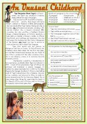 English Worksheet: AN UNUSUAL CHILDHOOD - Reading Comprehension