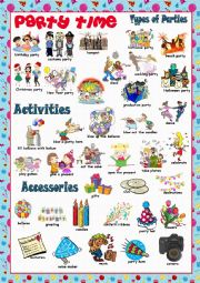 English Worksheet: Party Time Picture Dictionary#1