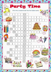 English Worksheet: Party Time Crossword Puzzle