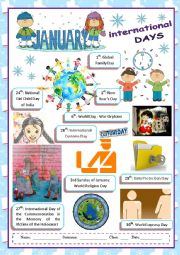 English Worksheet: January special days