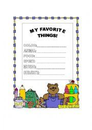 English Worksheet: MY FAVORITE THINGS