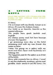 English Worksheet: A letter from Kenya