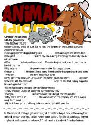 English Worksheet: Idioms Series-Animal Idioms Exercise