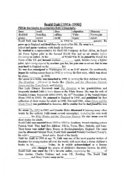 English worksheet: ROALD DAHL BIOGRAPHY WITH BLANKS PLUS ANSWERS