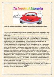 English worksheet: Automobiles