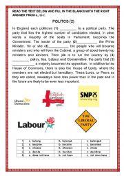 English Worksheet: POLITICS 2