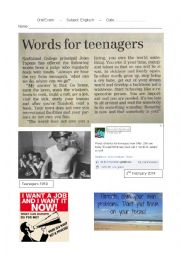 Oral Exam: Words for Teenagers