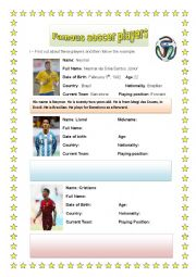English Worksheet: Famous Soccer Players