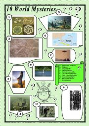 English Worksheet: 10 World Mysteries