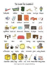English Worksheet: The house: household flash card & activity