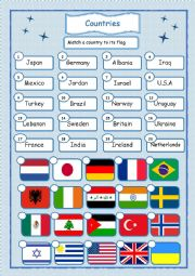 English Worksheet: Countries and flags