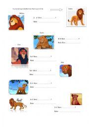 English Worksheet: King Lion�s Family