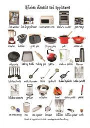 English Worksheet: The house: the kitchen utensils and appliances (1)