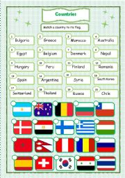 English Worksheet: Countries and Flags -2