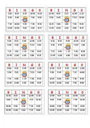English Worksheet: Telling Time - BINGO