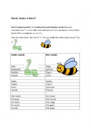 English Worksheet: How to pronounce the plurals in English: Be a Snake or a Bee