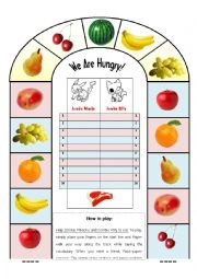 English Worksheet: We are hungry - Exciting game for any vocabulary!