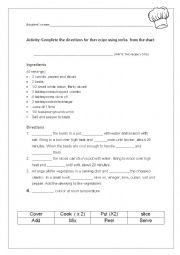 English Worksheet: Verbs used when cooking