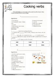 English Worksheet: Verbs used when cooking 2