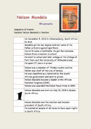 English Worksheet: Nelson Mandela Timeline