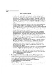 English Worksheet: astronomical facts