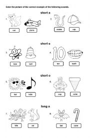 English Worksheet: Long Vowels and Short Vowels