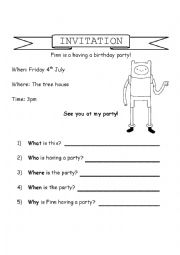 English Worksheet: Invitation - who, what, when, where, why