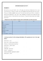 English Worksheet: INFORMATION-GAP ACTIVITY