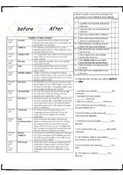English Worksheet: Preposition of time AFTER / BEFORE