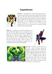 English Worksheet: Brave Superheroes
