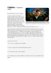 English Worksheet: Coldplay � Lovers in Japan