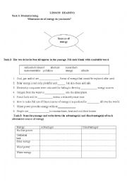 English Worksheet: reading: energy