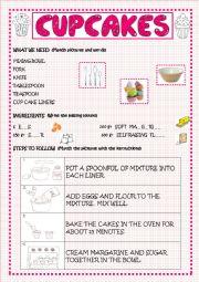 English Worksheet: CUPCAKES