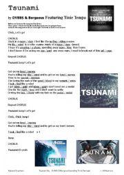 English Worksheet: Tsunami Song Worksheet