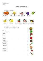 English Worksheet: Healthy food vs Junk food