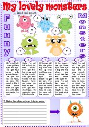 English Worksheet: My Lovely Monsters