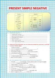 English Worksheet: Present simple negative