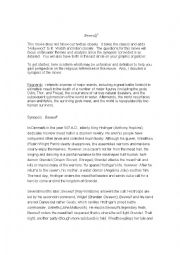 Beowulf Movie sheet and instructions