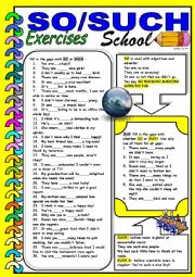 English Worksheet: SO/SUCH