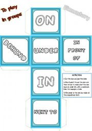 English Worksheet: Game Dice - Prepositions of place