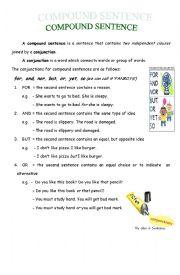 English Worksheet: Compound Sentence
