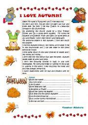 English Worksheet: I love Autumn