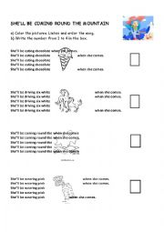 English Worksheet: She`ll Be Coming Round the Mountain