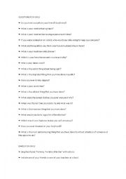 English Worksheet: Truth or Dare Questions