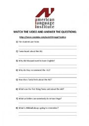 English Worksheet: American Language Institute