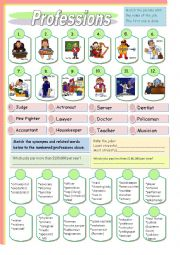 English Worksheet: Professions Part 2 (12 more professions)