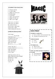 English Worksheet: Song: Magic - Coldplay
