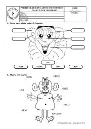 English Worksheet: Exam about Body parts