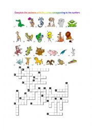 English Worksheet: CROSSWORDS OF ANIMALS