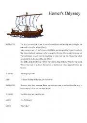 English Worksheet: HOMER�S ODYSSEY (drama version)